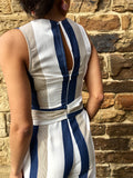 Navy Wide Leg Belted Jumpsuit
