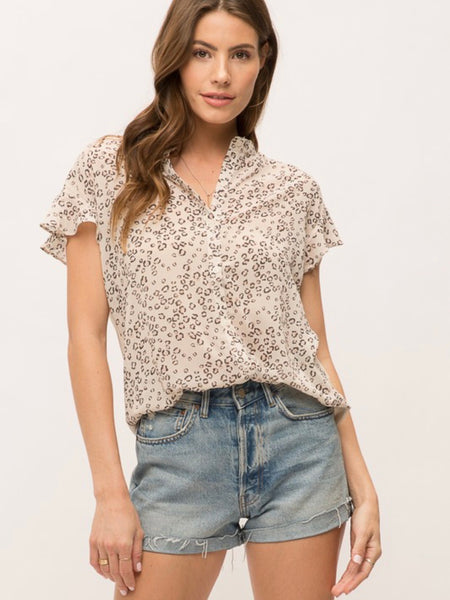 Taupe/Leopard Cap Sleeve Shirt
