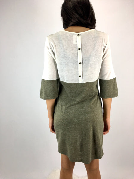 Ivory/Olive Shift Dress
