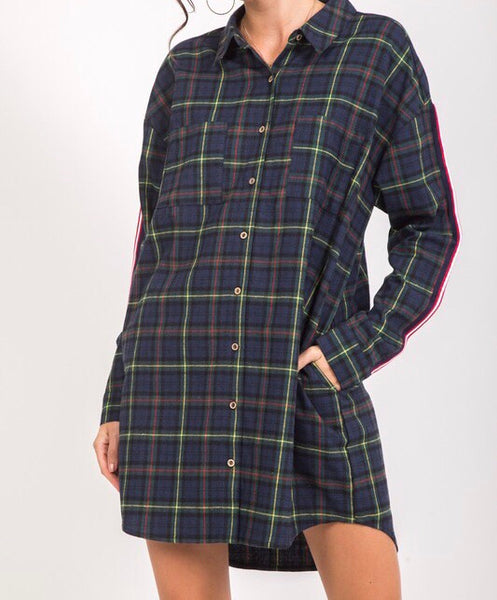 Hunter Green Plaid Shirt Dress