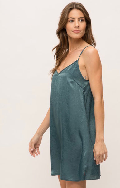 Teal Satin Slip Dress