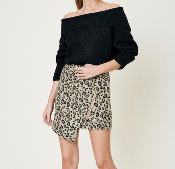 Leopard Asymmetrical Mini Skirt