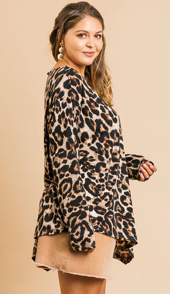 Brown Animal print Asymmetrical Top PLUS