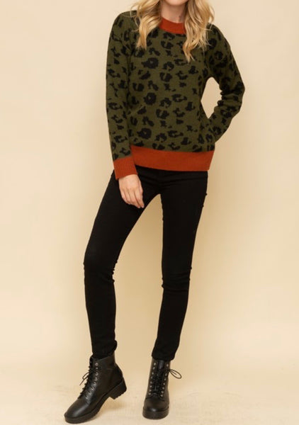 Olive Ribbed Animal Sweater