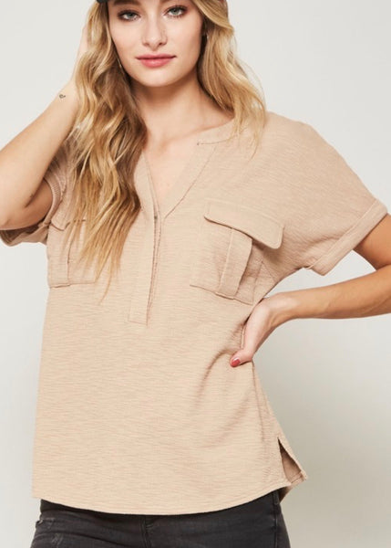 Taupe Ribbed Knit T