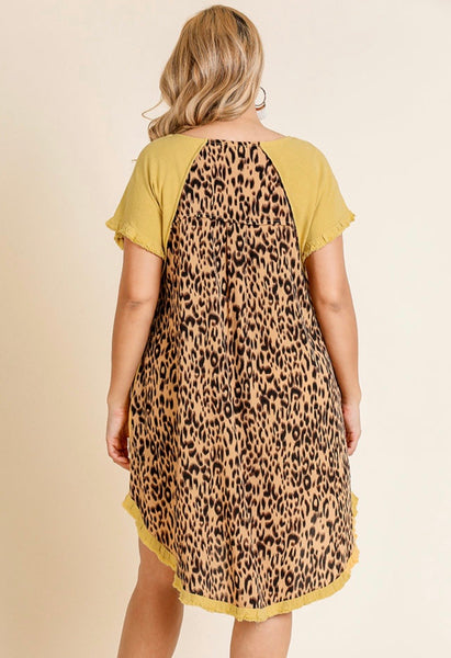 Golden Yellow Animal Print Back Dress-Plus
