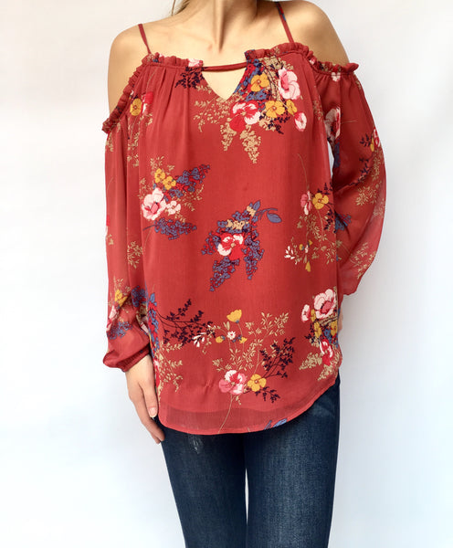 Rust Off Shoulder Floral Top