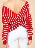 Red/White Twist Open Back Sweater