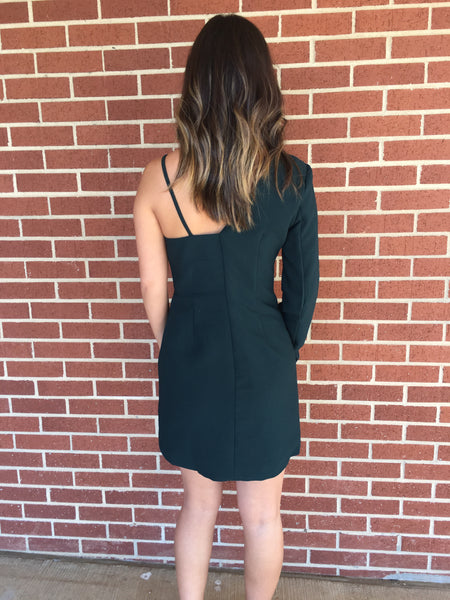 Hunter Green One Shoulder Dress