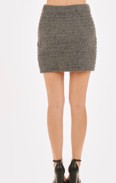Heather Grey Ribbed Skirt
