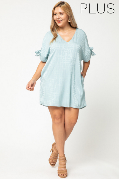 Seafoam Geometric Dress-Plus
