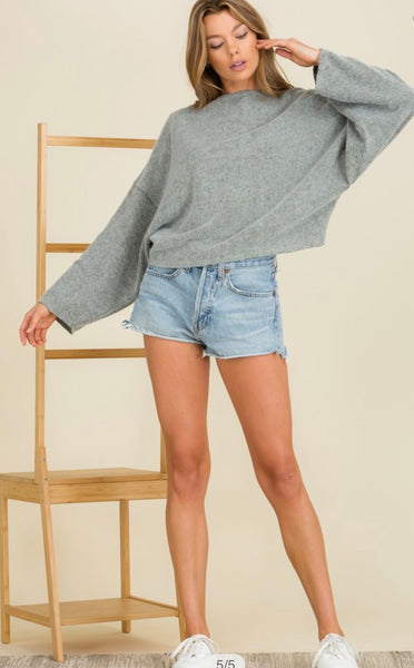 Grey Hacci Brushed Sweater