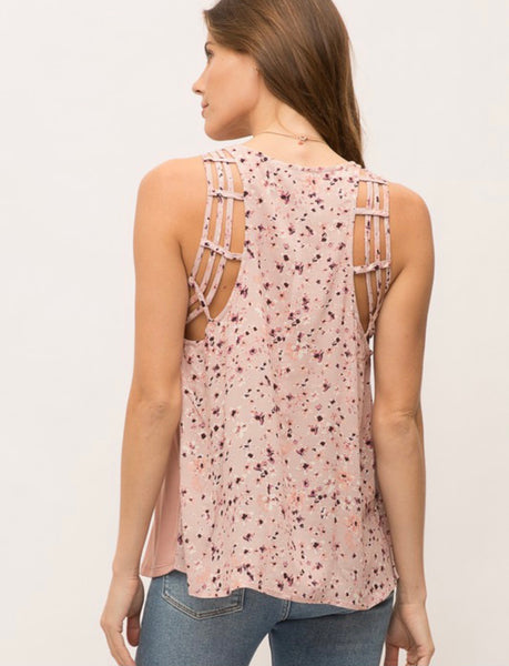 Mauve Mix Printed Back Top