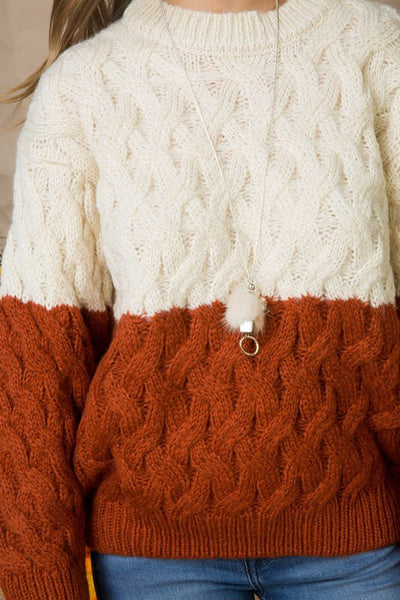 Stone/Rust Cable Sweater