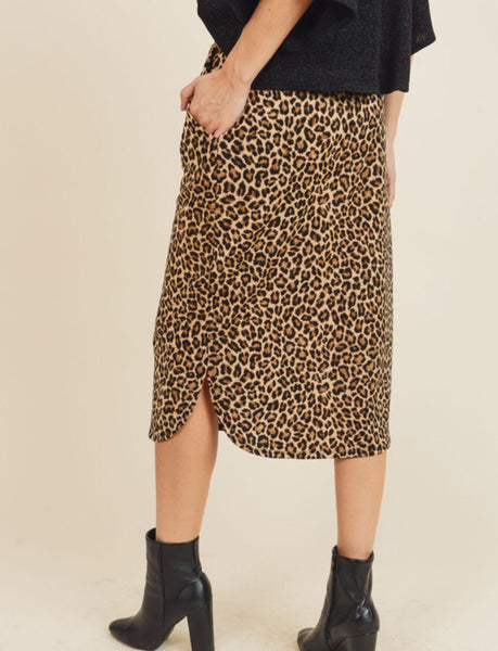 Leopard Knee Length Skirt
