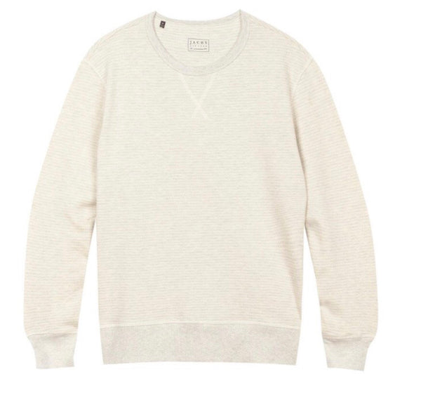 Ivory Striped Fleece Crewneck Sweatshirt
