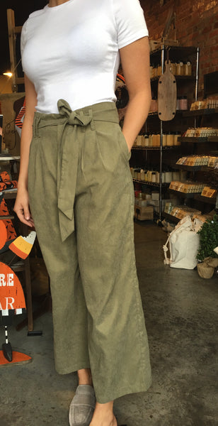 Olive Pin Tuck Wide Leg Pant