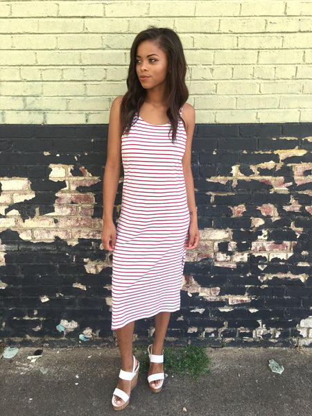 Red/Ivory Striped Tank Dress