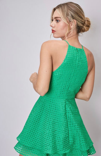 Green Halter Open Back Romper
