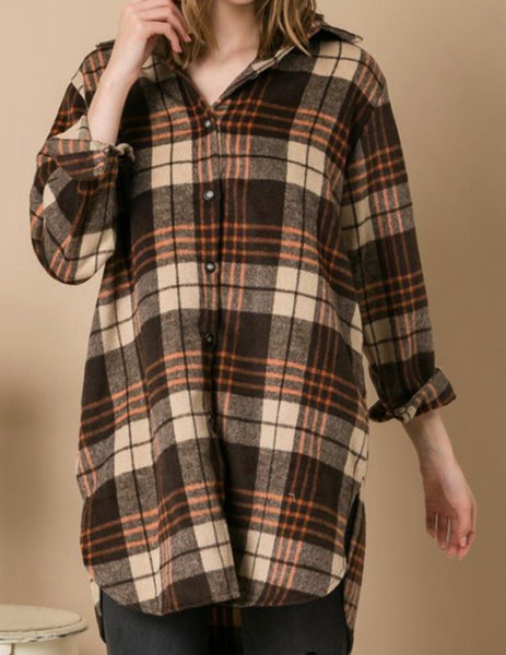 Apricot/Multi Shirt/Dress Flannel