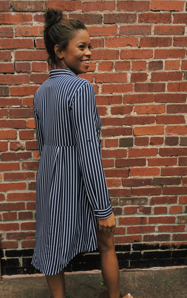 Navy Stripe Button Down Hi Lo Tunic