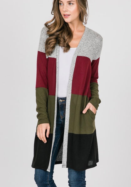 Olive Color Block Long Cardigan