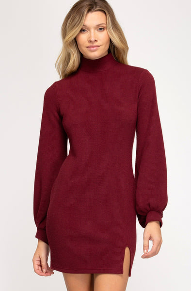 Wine Mock Neck Dress