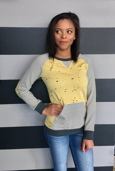 Mustard Striped Round Neck Top