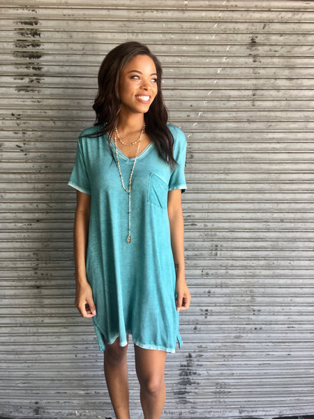 Peacock Tee Dress with Chest Pocket