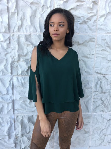 Hunter Green Flowy Sleeve Top
