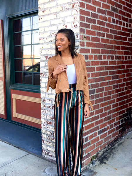 Multi Stripe Velvet Wide Leg Pant