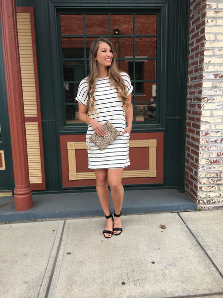 Ivory Stripe Knit Dress
