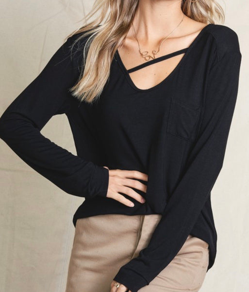 Black Casual V Neck Top