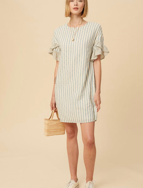 Blue Stripe Ruffle Sleeve Shirt Dress