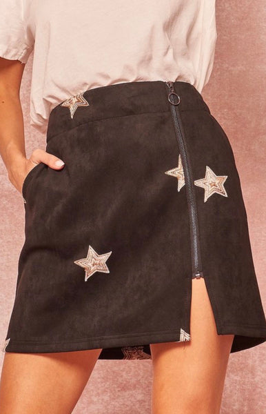 Black Embroidered Star Skirt