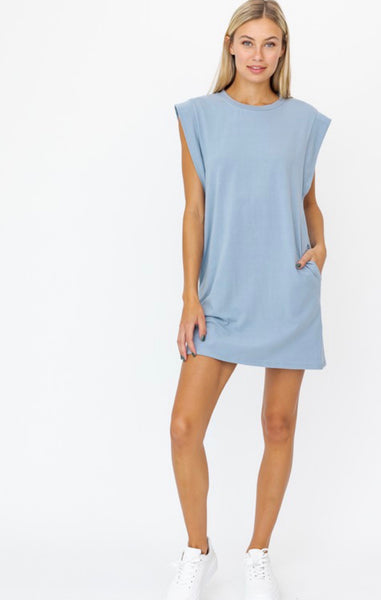 Dusty Blue Muscle T Dress