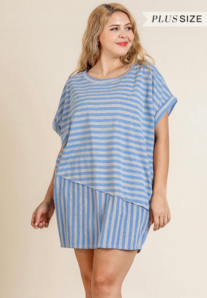 Blue Stripe Dress-Plus