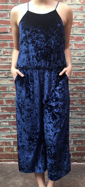 Crushed Velvet Navy Jumpsuit