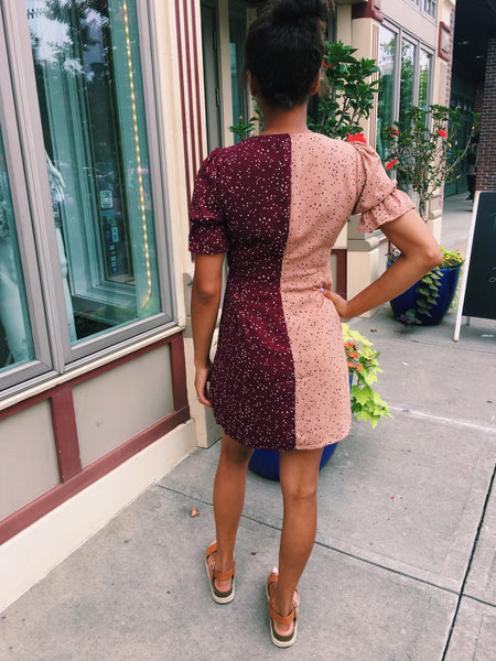 Tan Dotted Print Color Block Dress