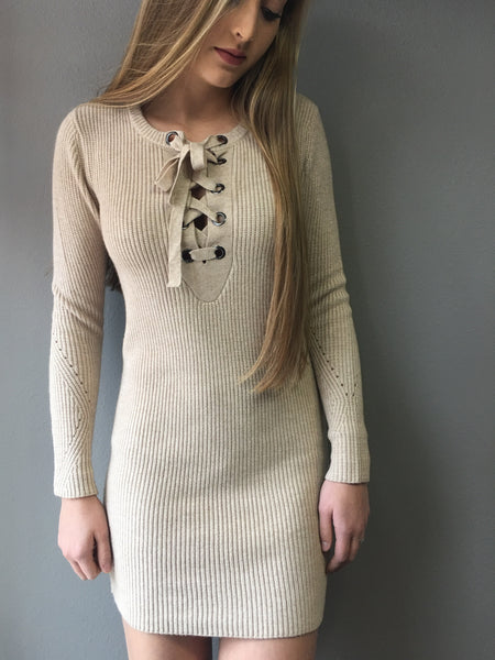 Taupe Lace Up Sweater Dress