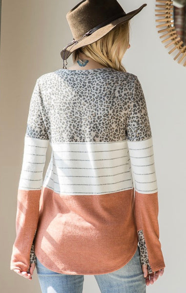 Brick Leopard Color Block Top