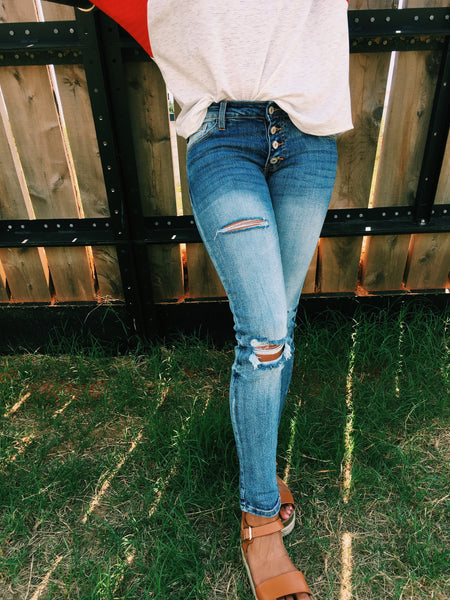 Faded Denim Distressed Leg Button Up, Relaxed