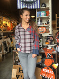 Red Plaid Top w/Denim Cuff Bell Sleeve