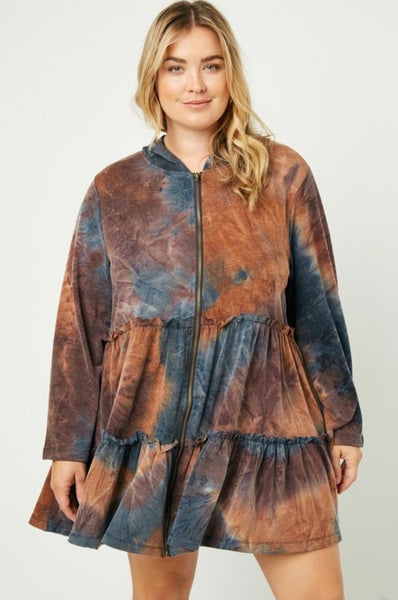 PLUS Rust Hoodie Dress