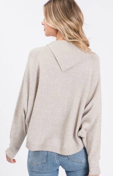 Taupe Sweater Angle Flap Collar