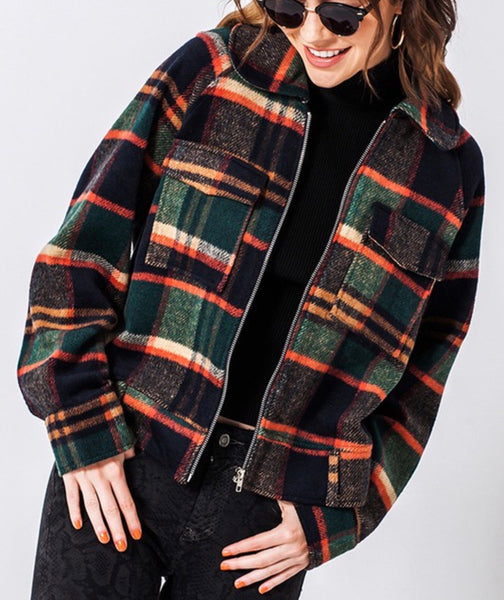 Navy Plaid Flannel Jacket