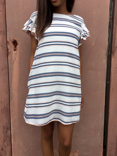 Pink Striped Butterfly Sleeves A Line Dress