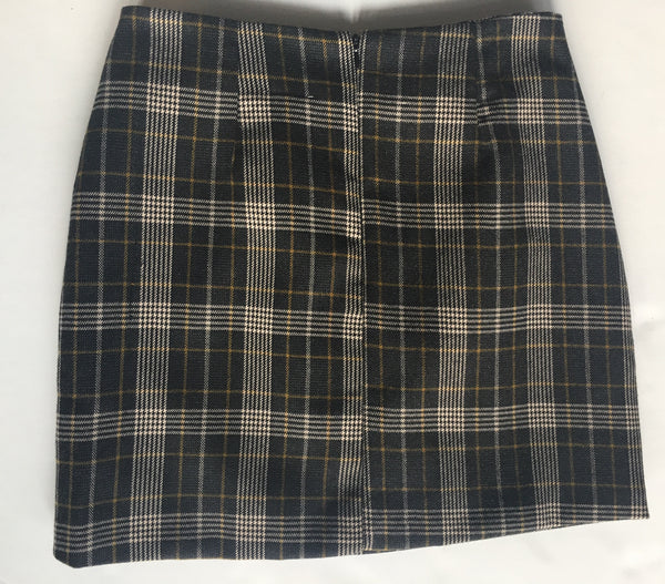 Mustard Check Double Skirt
