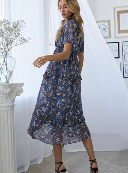 Navy Floral Ruffle Midi Dress