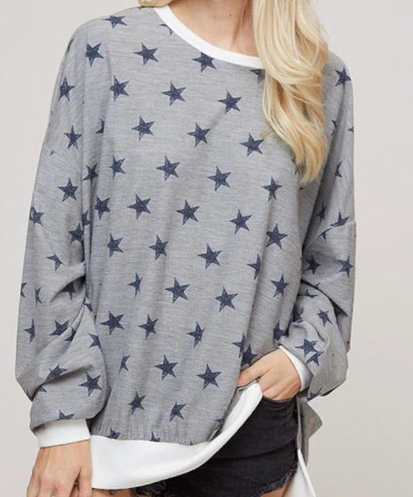 Light Grey Vintage Star Print Sweatshirt Top